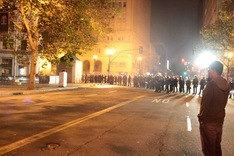 (Ali Winston) Oakland Police face off with the Occupy Oakland camp on October 25, 2011