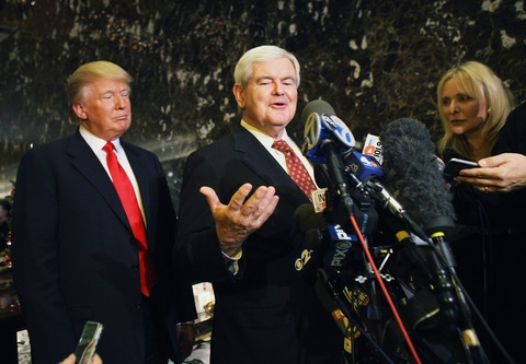 Donald Trump and Newt Gingrich; photo by Spencer Platt/Getty Images