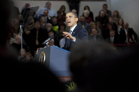 President Obama in Kansas; photo by Julie Denesha/Getty Images