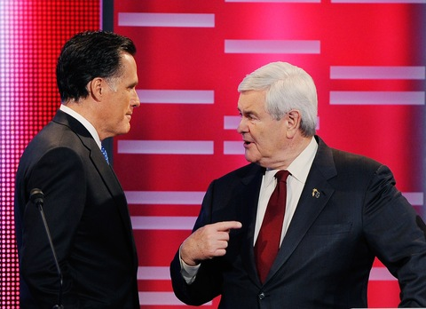 Mitt Romney and Newt Gingrich; photo by Kevork Djansezian/Getty Images