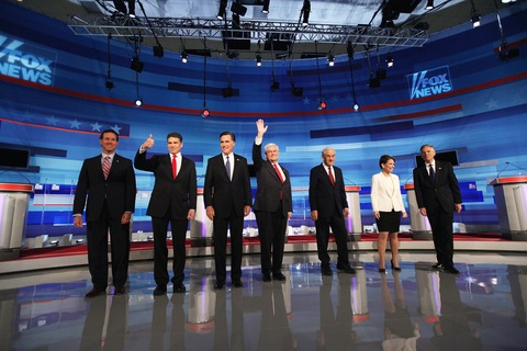 GOP debate in Iowa; photo by Scott Olson/Getty Images