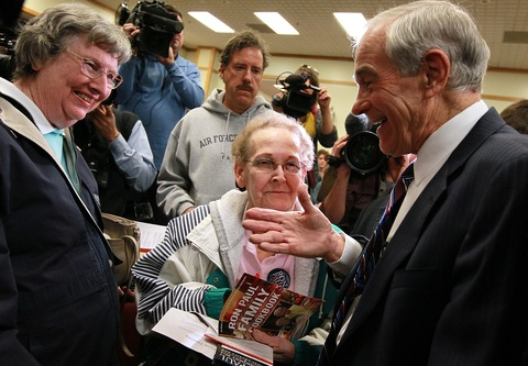 Presidential hopeful Rep. Ron Paul greets supporters during a campaign event Thursday in Atlantic, Iowa; photo by Justin Sullivan/Getty Images