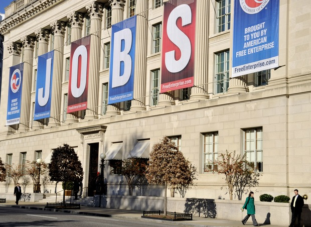A jobs sign hangs above the entrance to the US Chamber of Commerce building in Washington, DC
