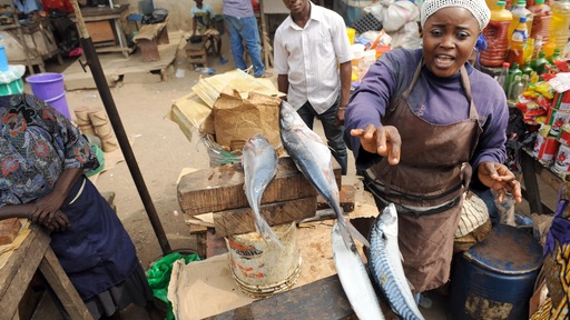 Fish vendor in Nigeria, Pius Utomi Ekpei/AFP/Getty Images