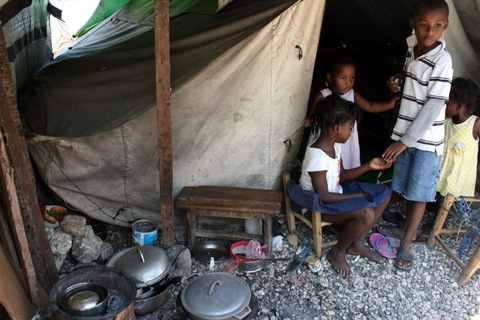 Children in the Champs de Mars tent camp in Port-au-Prince. Photo by Larisa Epatko/PBS NewsHour
