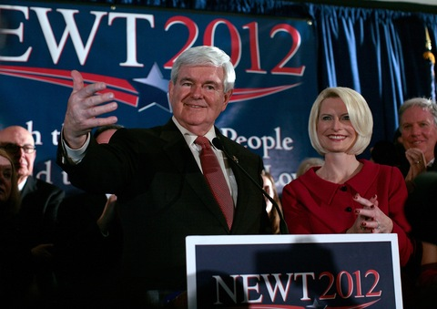 Newt and Callista Gingrich; photo by T.J. Kirkpatrick/Getty Images