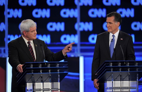 Newt Gingrich and Mitt Romney debate in Florida; photo by Paul J. Richards/AFP/Getty Images