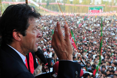 Imran Khan addressing supporters in Peshawar on Nov. 25. Photo by A. Majeed/AFP/Getty Images