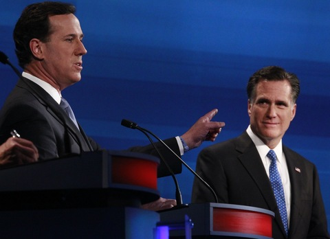 Rick Santorum and Mitt Romney; photo by Charles Dharapa/Pool-Getty Images