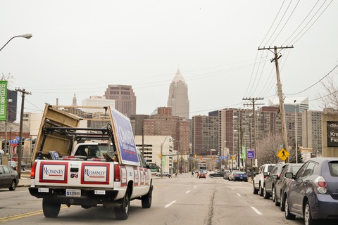 Romney truck; photo by Terence Burlij/PBS NewsHour