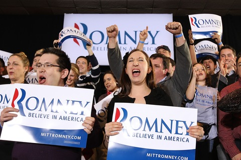 Romney supporters; photo by Justin Sullivan/Getty Images