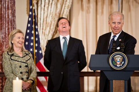 Hillary Clinton, David Cameron and Joe Biden; Brendan Hoffman/Getty Images