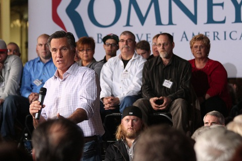 Former Massachusetts Gov. Mitt Romney speaks at a town hall event in Dayton, Ohio, on March 3, 2012. Photo by Terence Burlij/PBS NewsHour.
