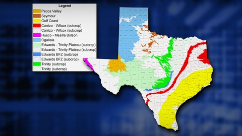 Map of Major Texas Aquifers
