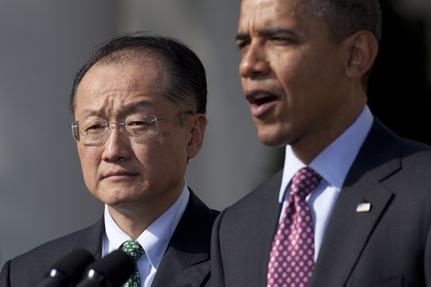 U.S. President Barack Obama, right, introduces Jim Yong Kim as a nominee to become president of the World Bank