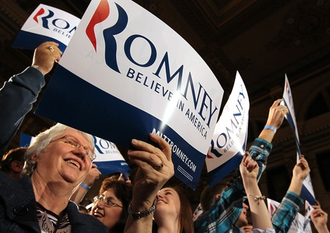 Mitt Romney supporters in Wisconsin; photo by Justin Sullivan/Getty Images