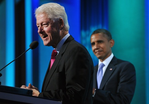 Bill Clinton and Barack Obama; photo by Mandel Ngan/AFP/Getty Images