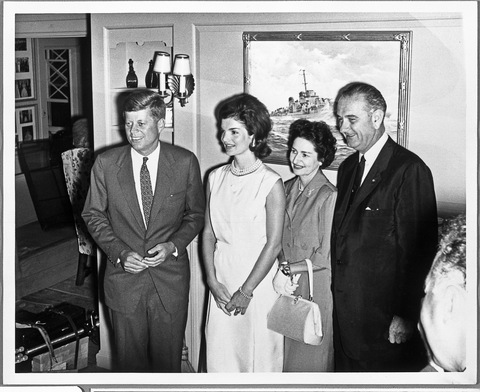 The candidates and their wives together at Hyannis Port after the party convention; LBJ Library photo