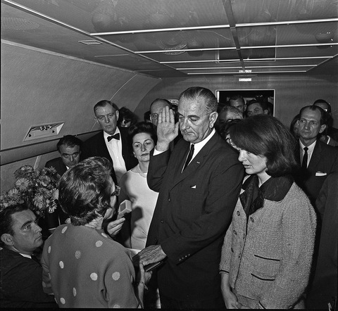 LBJ Sworn in on Air Force One; Photo courtesy LBJ Library/Cecil Stoughton
