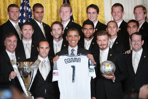 President Obama and the LA Galaxy; photo by Mandel Ngan/AFP/Getty Images
