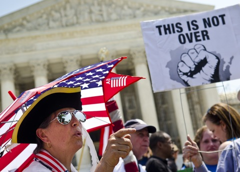 Supreme Court demonstration; photo by Kris Connor/Getty Images