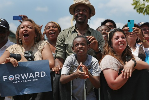 Supporters of President Obama; photo by Chip Somodevilla/Getty Images