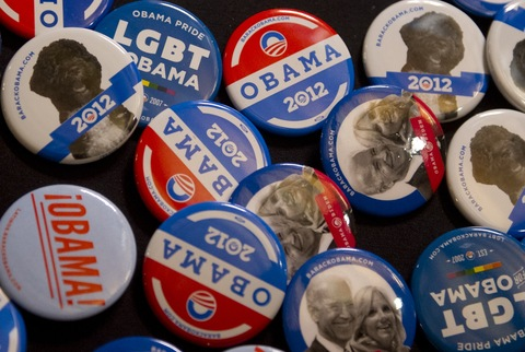 Obama-Biden 2012 buttons; photo by Saul Loeb/AFP/Getty Images
