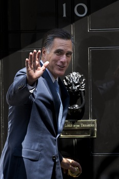 Republican presidential candidate, Mitt Romney, arrives at Downing Street