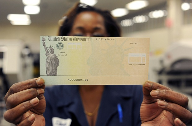A blank U.S. Treasury check before it's run through a printer.