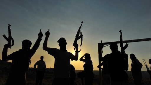 Members of Jihadist group Hamza Abdualmuttalib train near Aleppo on July 19. Photo by Bulent Kilic/AFP/Getty Images.