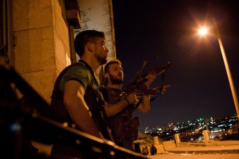 Fighters with the Free Syrian Army; photo by Nicole Tung/GlobalPost