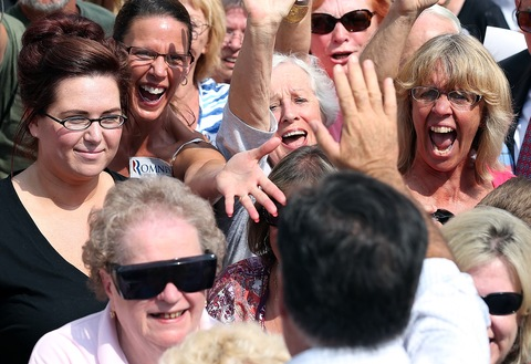 Mitt Romney and women supporters; photo by Justin Sullivan/Getty Images