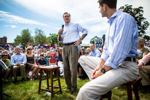 Mitt Romney and Paul Ryan; photo by Aram Boghosian for The Boston Globe via Getty Images