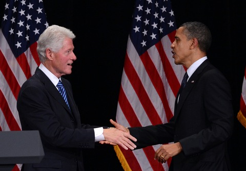 Bill Clinton and Barack Obama; photo by Jewel Samad/AFP/Getty Images