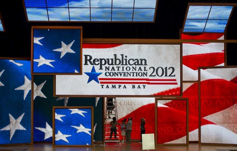 Republican National Convention preparation; photo by Mladen Antonov/AFP/Getty Images