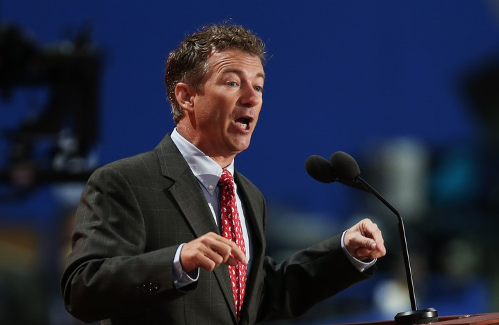 U.S. Sen. Rand Paul (R-KY) waves as he speaks during the third day of the Republican National Convention at the Tampa Bay Times Forum on August 29, 2012 in Tampa, Florida.