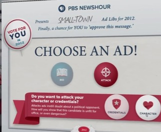 Create your own political ad using the PBS NewsHour 2012 Adlibs ad creator.