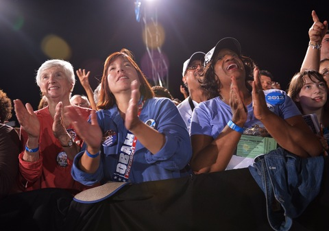 Obama supporters; photo by Mandel Ngan/AFP/Getty Images