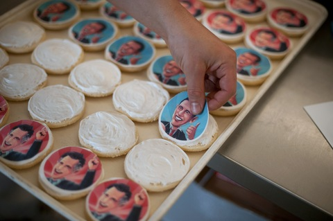 Obama and Romney cookies; photo by Jeff Swenson/Getty Images