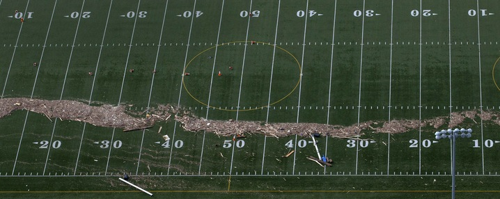 A Debris-Laden Football Field