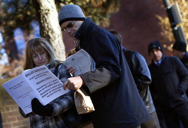 Voting in Boston; photo by Mike Segar/Reuters