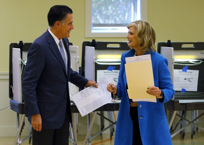Romneys Vote in Belmont, Mass.
