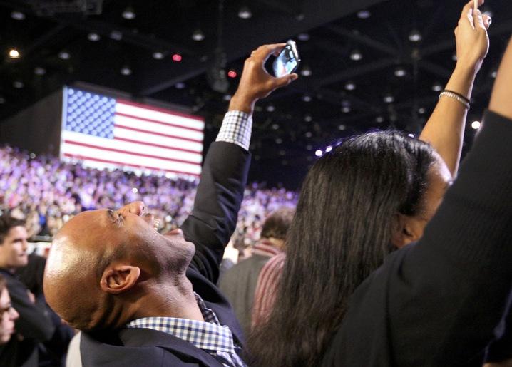 Cheering Obama