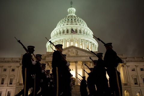 Army Honor Guard rehearses for the presidential inauguration; photo by Pete Marovich/Bloomberg via Getty Images