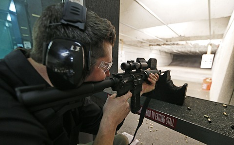 The 'Get Some Guns &amp; Ammo' shooting range; photo by George Frey/Getty Images