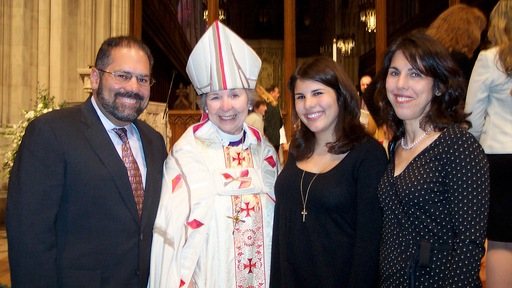 Ray Suarez with Rev. Jane Holmes Dixon, his daughter Eva, and wife, Carole, at the National Cathedral in Washington, D.C.