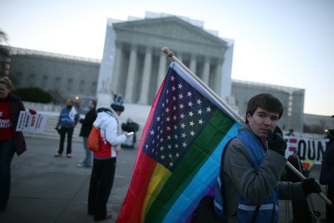 Gay marriage case at the Supreme Court; photo by Mark Wilson/Getty Images