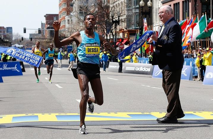 First Man Crosses Finish Line