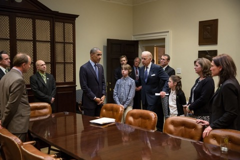 President Obama and Vice President Biden meet with families of victims killed in Newtown, Conn.; official White House photo by Pete Souza