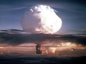 A U.S. hydrogen bomb explosion in Eniwetok Atoll, Marshall Islands. Source: AP